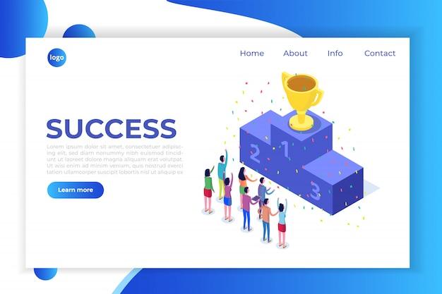 Concepto de negocio ganador, isométrico ganador, éxito y logro con personajes.