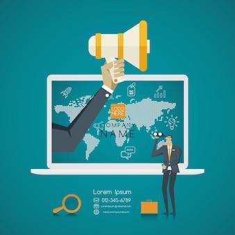 Concepto de negocio. gente de negocios en busca de trabajo en internet