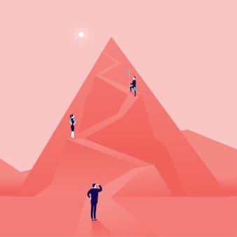 Concepto de negocio con gente de negocios subiendo la carretera de montaña. estilo plano. carrera, liderazgo, crecimiento, nuevas metas, aspiraciones, ascender