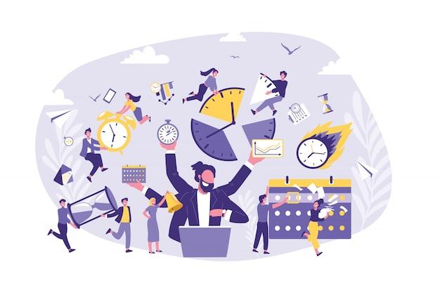 Concepto de negocio de gestión del tiempo, productividad, organización.