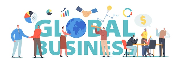 Concepto de negocio global. asociación financiera exitosa, crecimiento profesional. apretón de manos de personajes, gráficos de flechas en crecimiento, cartel de hombre con catalejo, pancarta o volante. ilustración de vector de gente de dibujos animados