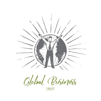 Concepto de negocio global. empresario dibujado mano levantando la mano. hombre delante de la tierra ilustración aislada.