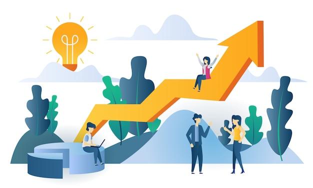 Concepto de negocio gráfico de ventas ilustración plana