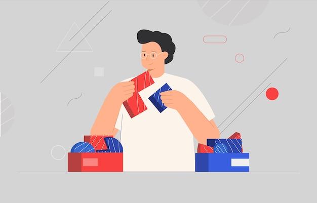 Concepto de negocio. hombre conectando elementos de rompecabezas o piezas de rompecabezas, formas abstractas en el fondo.