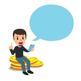 Concepto de negocio un hombre con gran pila de monedas y burbujas de discurso