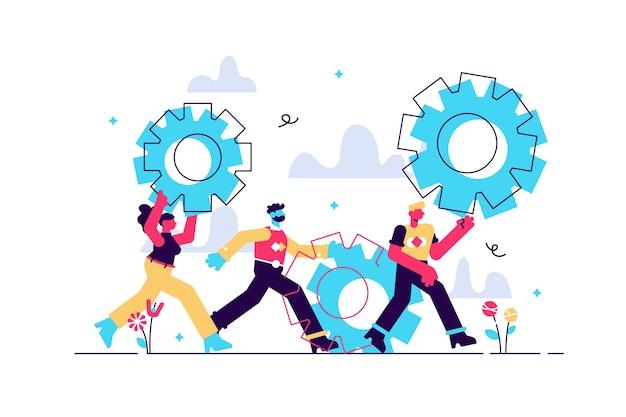 Concepto de negocio de ilustración gente pequeña enlaces de mecanismo mecanismo de negocio resumen antecedentes con engranajes personas participan en el análisis de la estrategia de promoción empresarial comenzando el