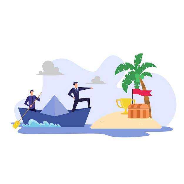 Concepto de negocio, ilustración plana de trabajo en equipo