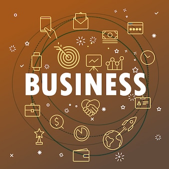Concepto de negocio. se incluyen diferentes iconos de líneas finas