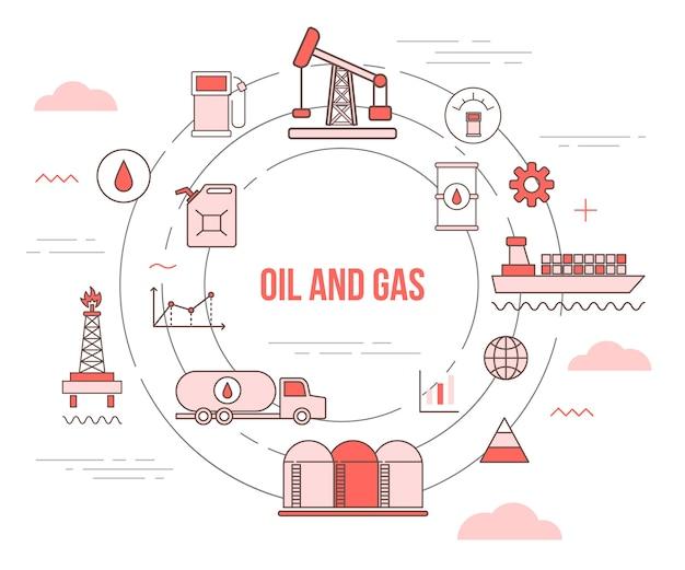 Concepto de negocio de la industria de petróleo y gas con banner de plantilla de conjunto con estilo moderno de color naranja