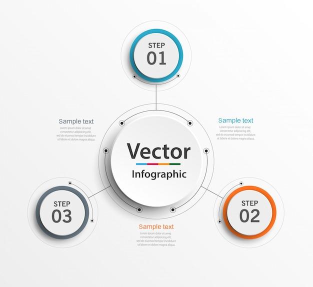 Concepto de negocio de infografía con 3 opciones, partes, pasos o procesos.