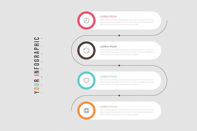 Concepto de negocio de infografía con 4 opciones o pasos.