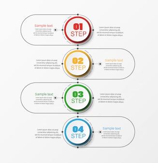 Concepto de negocio de infografía con 4 pasos.