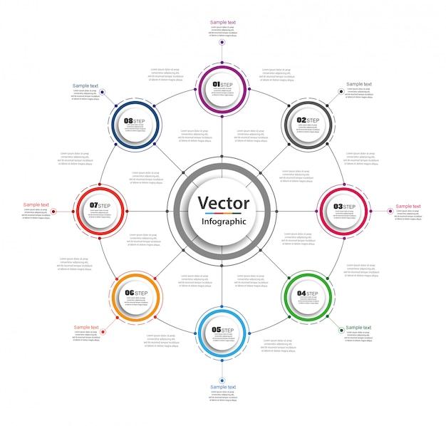 Concepto de negocio de infografía con 8 opciones, partes, pasos o procesos.