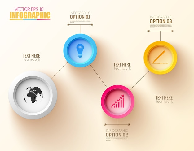 Concepto de negocio de infografía con cuatro botones redondos e iconos