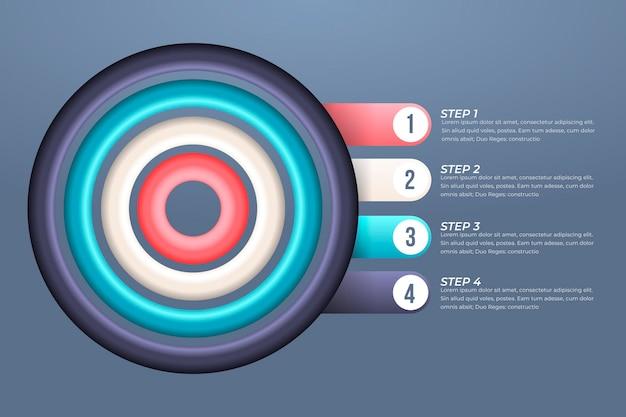 Concepto de negocio de infografía de objetivos