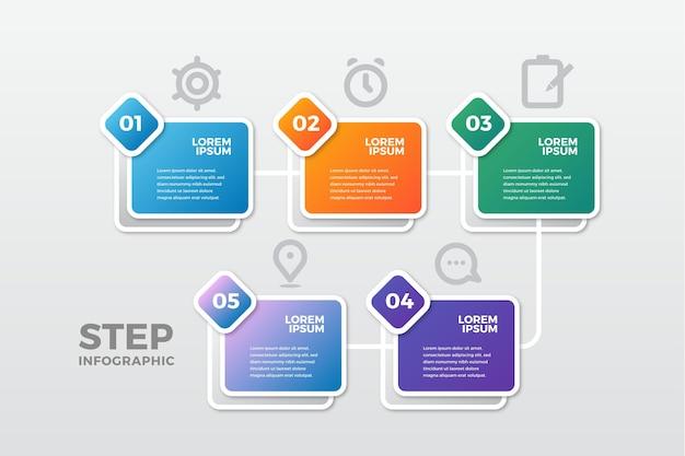Concepto de negocio de infografía de pasos