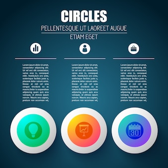 Concepto de negocio de infografía con tres columnas de texto editables y siluetas de pictogramas en elementos de diseño redondo