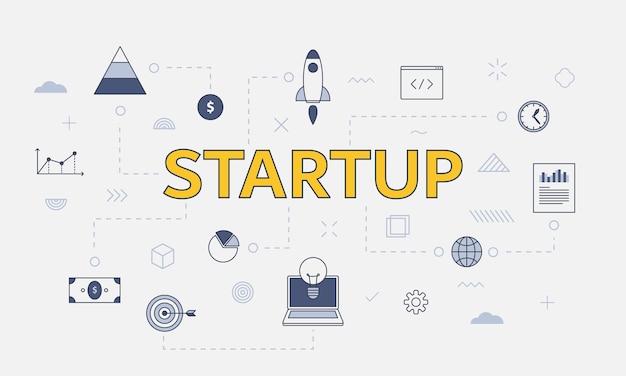 Concepto de negocio de inicio con conjunto de iconos con gran palabra o texto en la ilustración de vector de centro