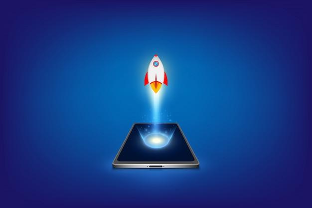 Concepto de negocio de inicio exitoso. desarrollo del proyecto. lanzamiento de un cohete desde un teléfono inteligente.