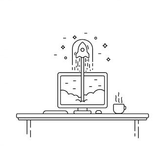Concepto de negocio de inicio exitoso. ilustración vectorial con lanzamiento de cohete y monitor