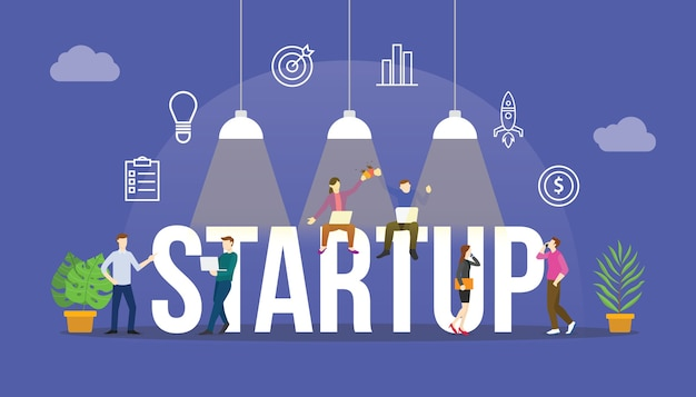 Concepto de negocio de inicio con personas del equipo y objeto de icono moderno moderno con texto grande o ilustración de palabra