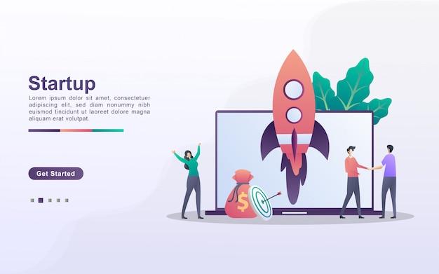 Concepto de negocio de inicio. proceso de inicio del proyecto empresarial, idea a través de la planificación y estrategia, gestión del tiempo. se puede usar para la página de destino web, banner, aplicación móvil.