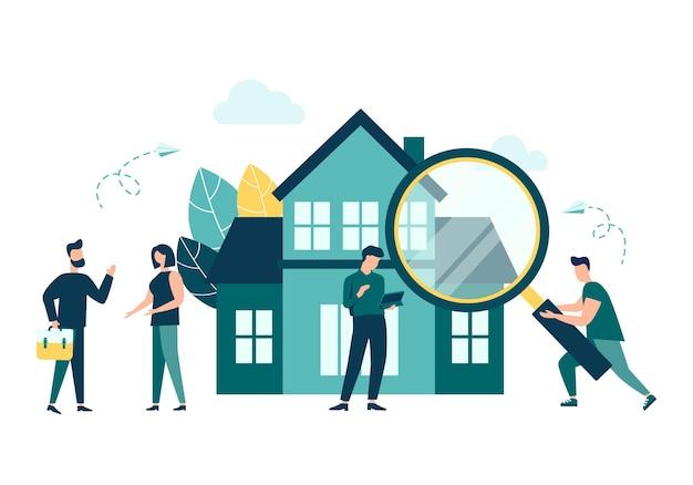 Concepto de negocio inmobiliario elegir y encontrar una casa ilustración vectorial estilo plano aislado