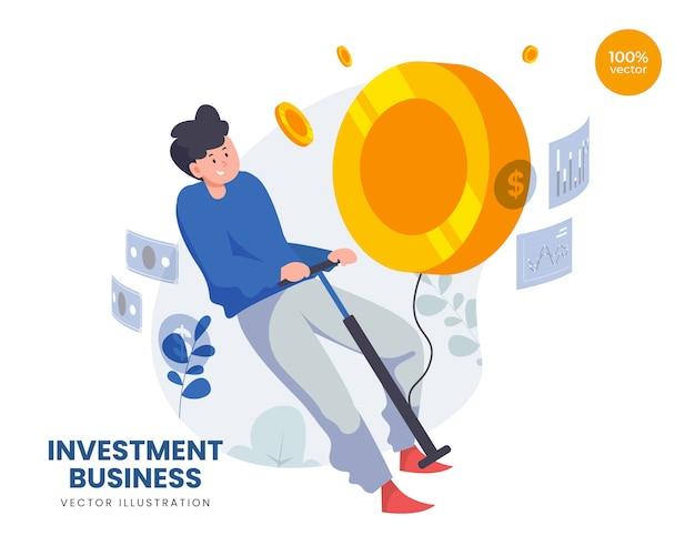 Concepto de negocio de inversión con hombre y