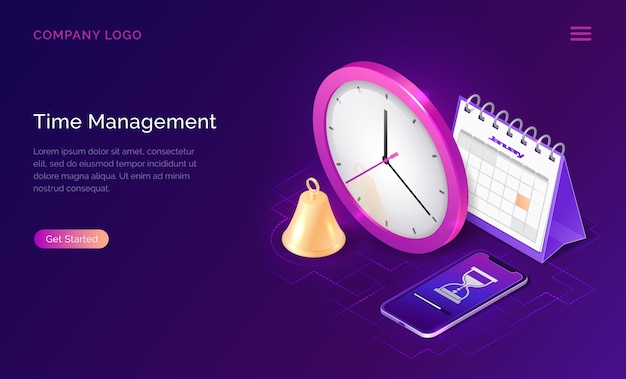 Concepto de negocio isométrico de gestión del tiempo