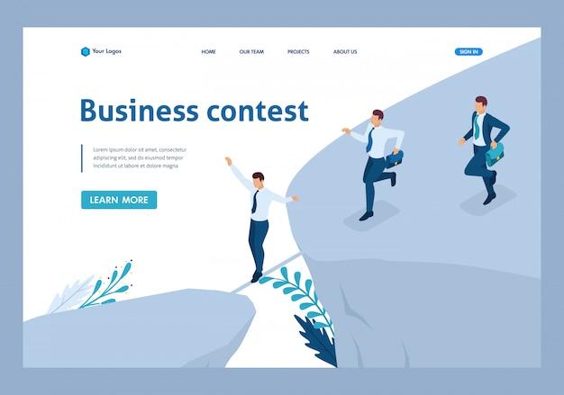 Concepto de negocio isométrico, participar en concursos de negocios