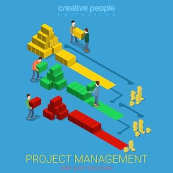 Concepto de negocio isométrico plano de diagrama de gantt de gestión de proyectos