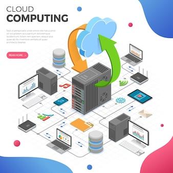 Concepto de negocio isométrico de tecnología de computación en la nube de red de datos
