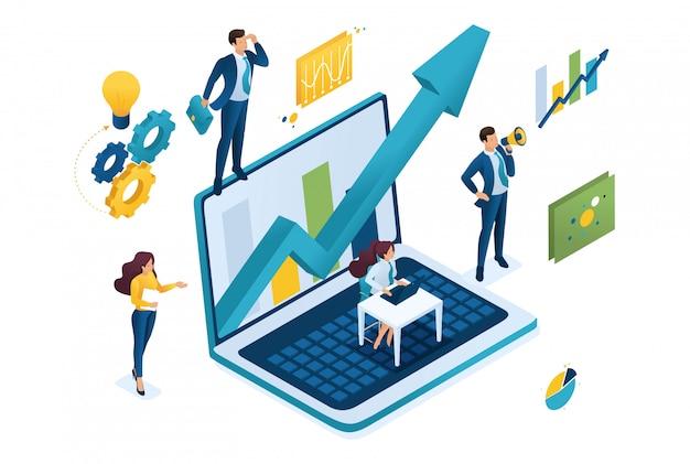 Concepto de negocio isométrico, trabajando juntos como un equipo para lograr el éxito.