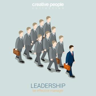 Concepto de negocio de liderazgo plano 3d web
