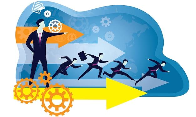 Concepto de negocio de liderazgo. tipografía de icono de gente líder