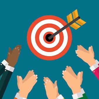 Concepto de negocio con la mano del empresario mantenga el objetivo