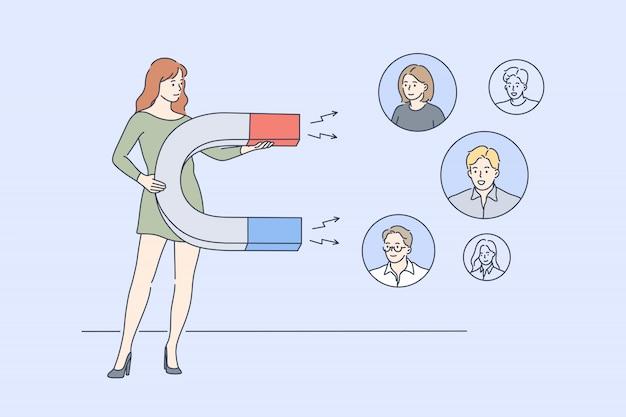 Concepto de negocio, marketing digital, promoción, publicidad, redes sociales.