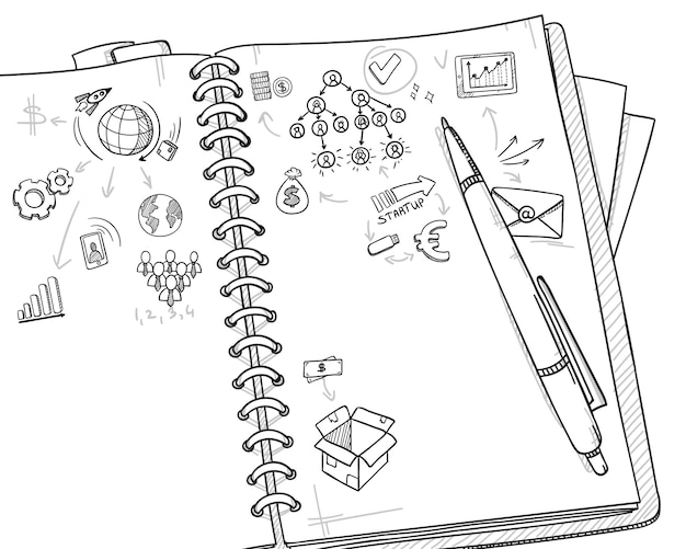 Concepto de negocio monocromo de bosquejo