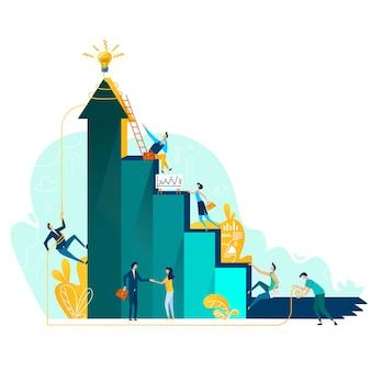 Concepto de negocio objetivo de logro y trabajo en equipo