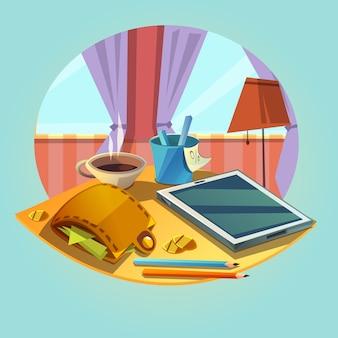 Concepto de negocio con oficina de dibujos animados retro objetos objetos billetera y taza de café