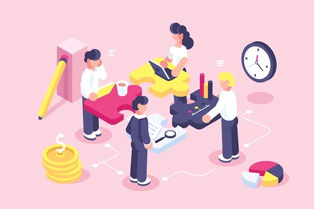 Concepto de negocio para página web. metáfora del equipo. personas conectando elementos de rompecabezas. ilustración vectorial estilo de diseño plano. símbolo de trabajo en equipo, cooperación, asociación. empleados de inicio. objetivo de pensamiento