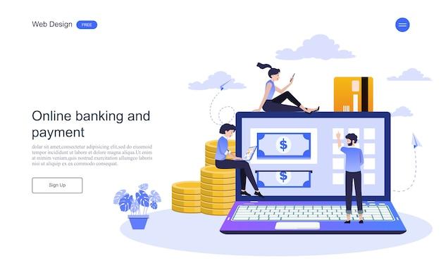 Concepto de negocio de la página web de la página de aterrizaje para banca en línea, transacción financiera.