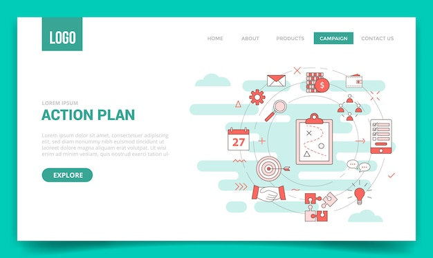 Concepto de negocio de plan de acción con icono de círculo