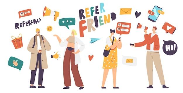 Concepto de negocio del programa de referencia. carácter de vendedor gritando a megáfono atrayendo audiencia para referir amigos. personas conectadas a internet y la red de relaciones. ilustración vectorial de dibujos animados