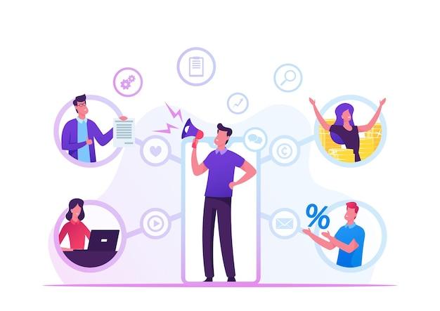 Concepto de negocio del programa de referencia. ilustración plana de dibujos animados