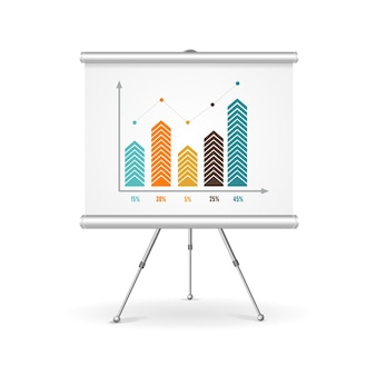 Concepto de negocio de rotafolio. demostración de los resultados.
