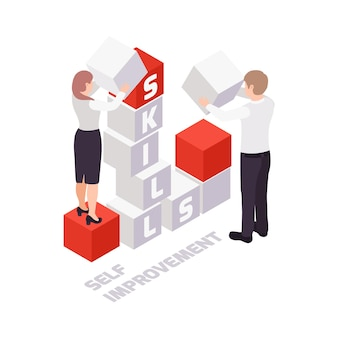 Concepto de negocio de superación personal con personas que construyen palabra habilidad 3d isométrica