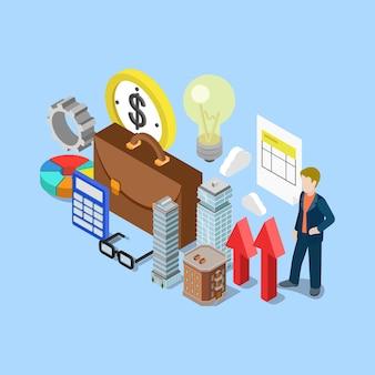 Concepto de negocio de teneduría de libros de contabilidad financiera inmobiliaria isométrica plana 3d