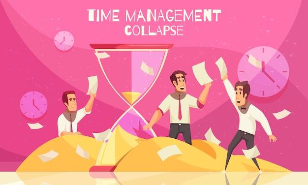 Concepto de negocio con trabajadores de oficina capturando hojas de papel voladoras y reloj de arena como símbolo de acercarse a la fecha límite horizontal