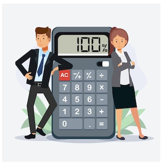 Concepto de negocio trabajo en equipo de calculadora de negocios financieros de trabajo de personas.ilustraciones de personajes de dibujos animados de vector plano.